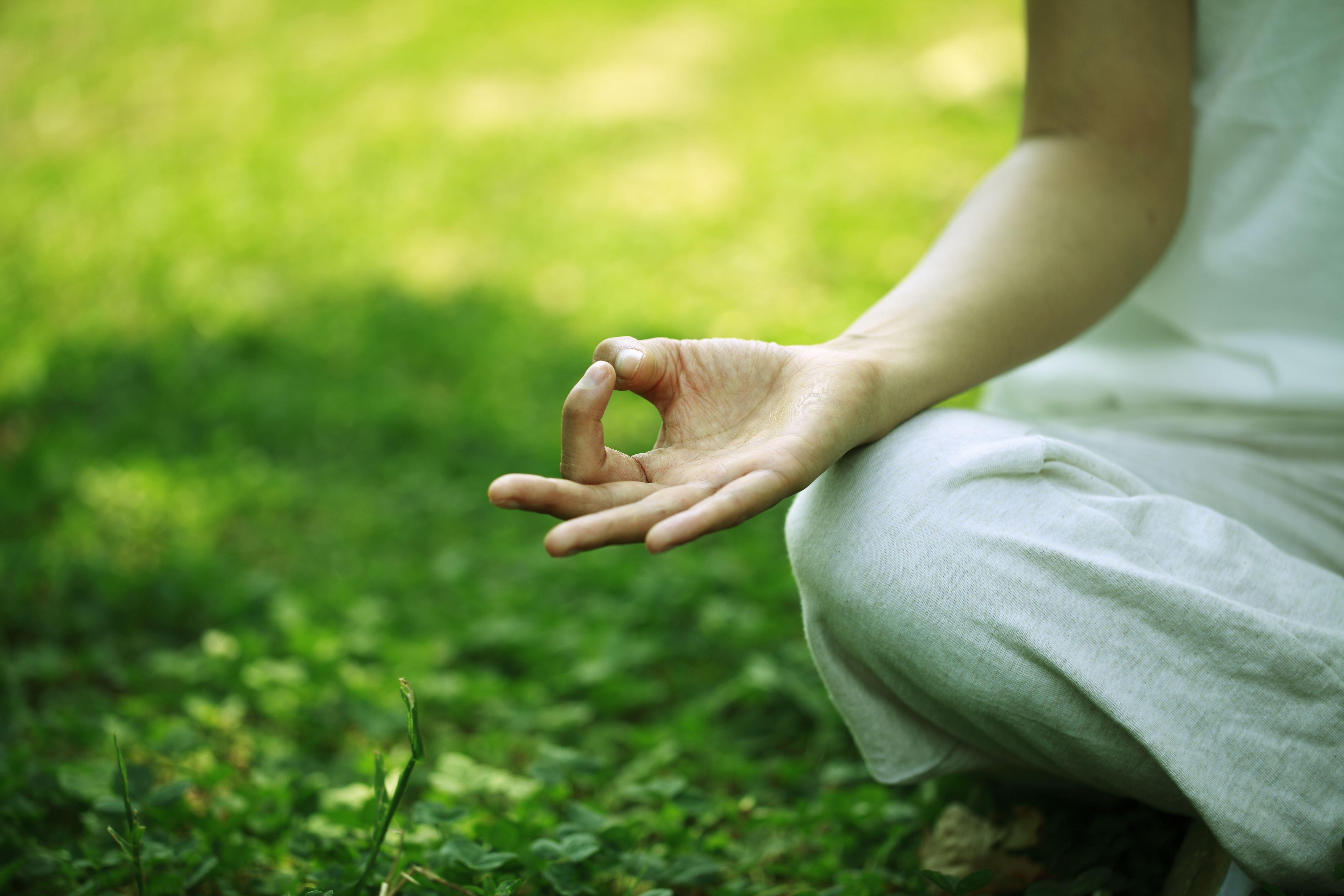 Meditating outside