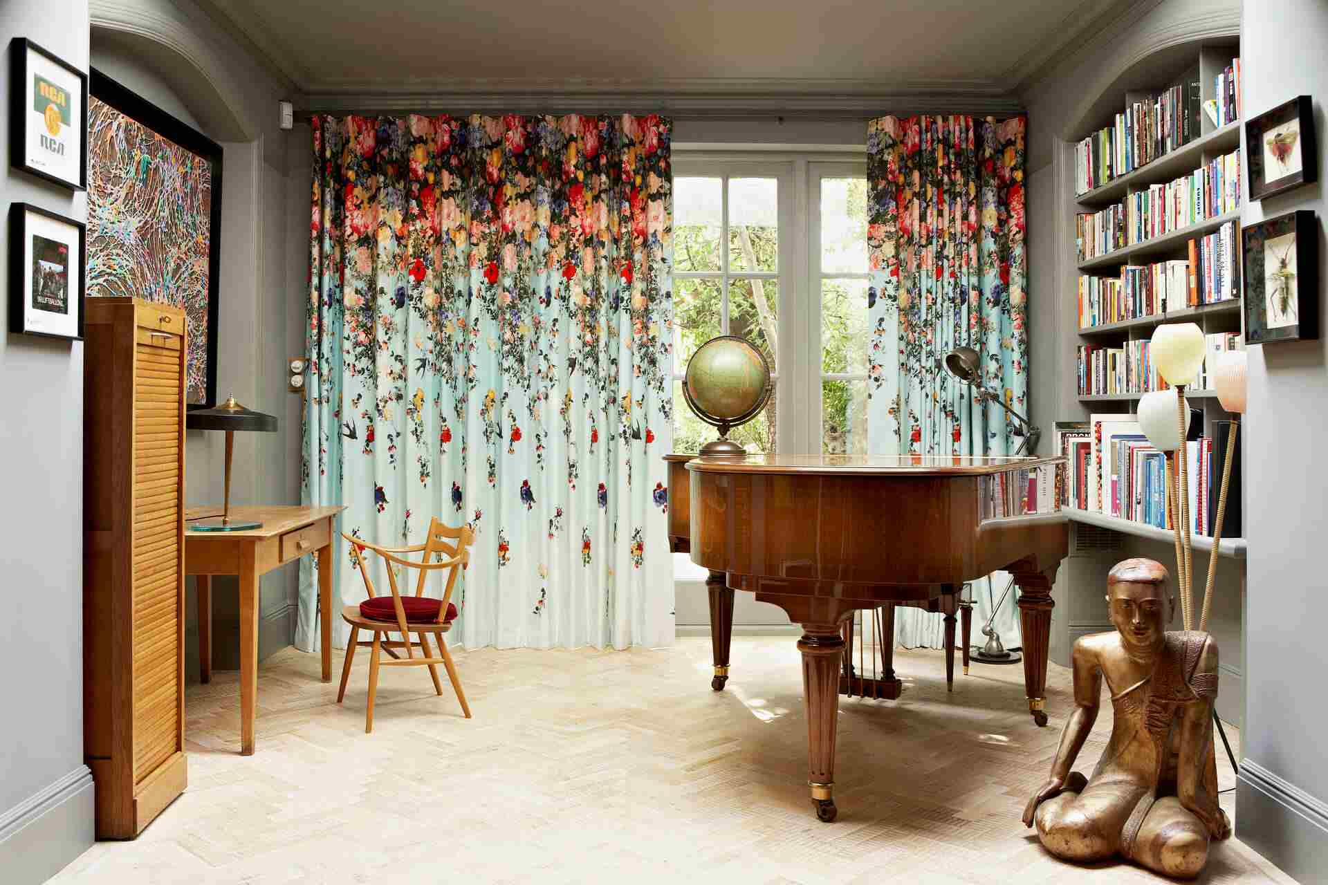 colorful curtains in neutral den