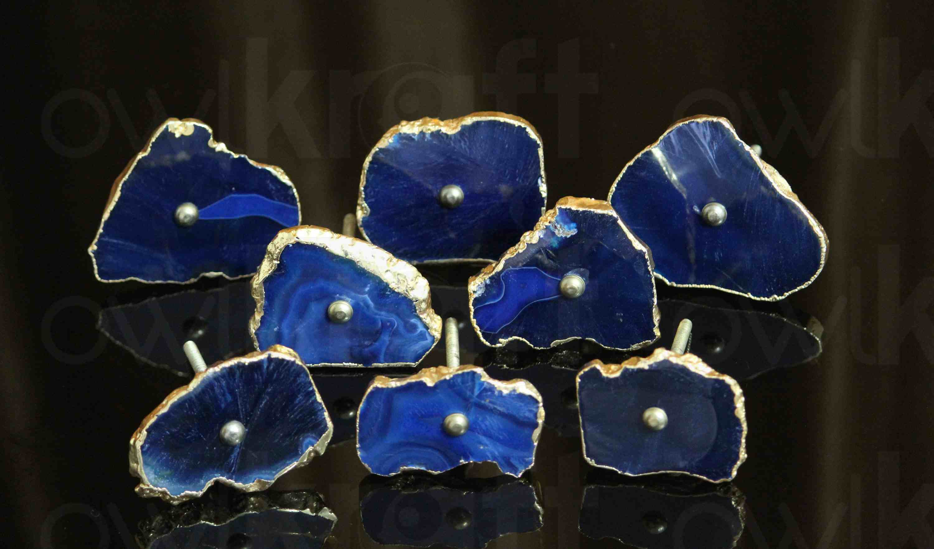 Blue agate knobs for cabinetry