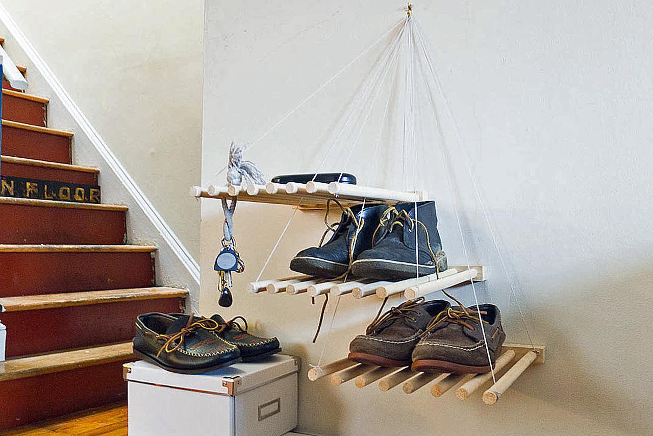 DIY dowel shoe storage shelves
