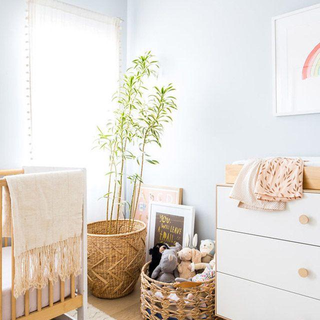 Pale blue nursery with boho charm