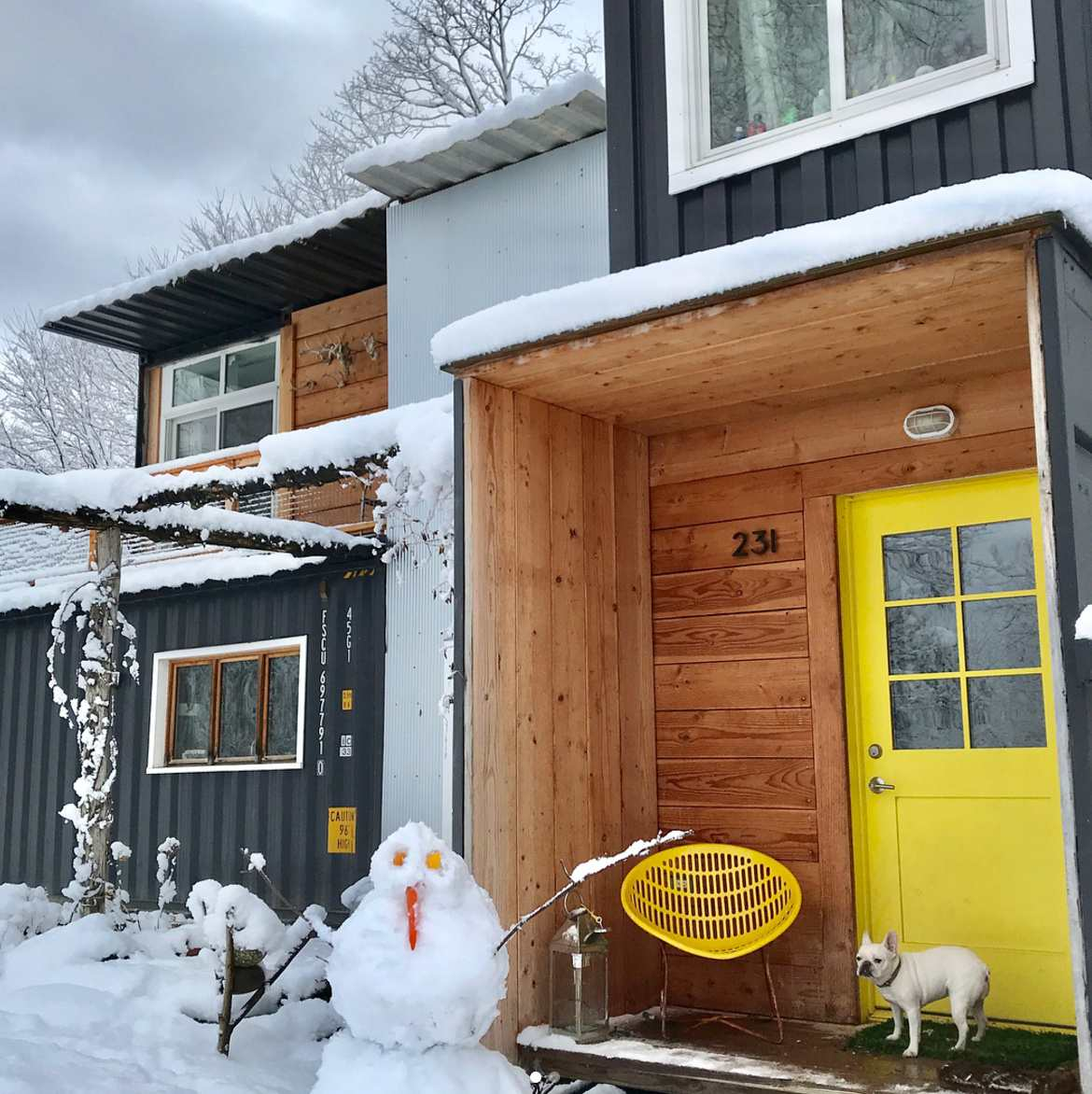 a home made from a shipping container