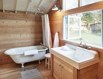 Wooden lined bathroom