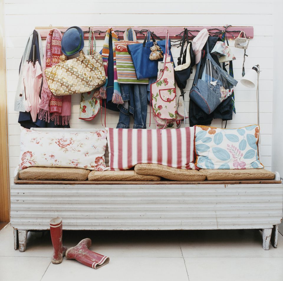Cluttered mudroom