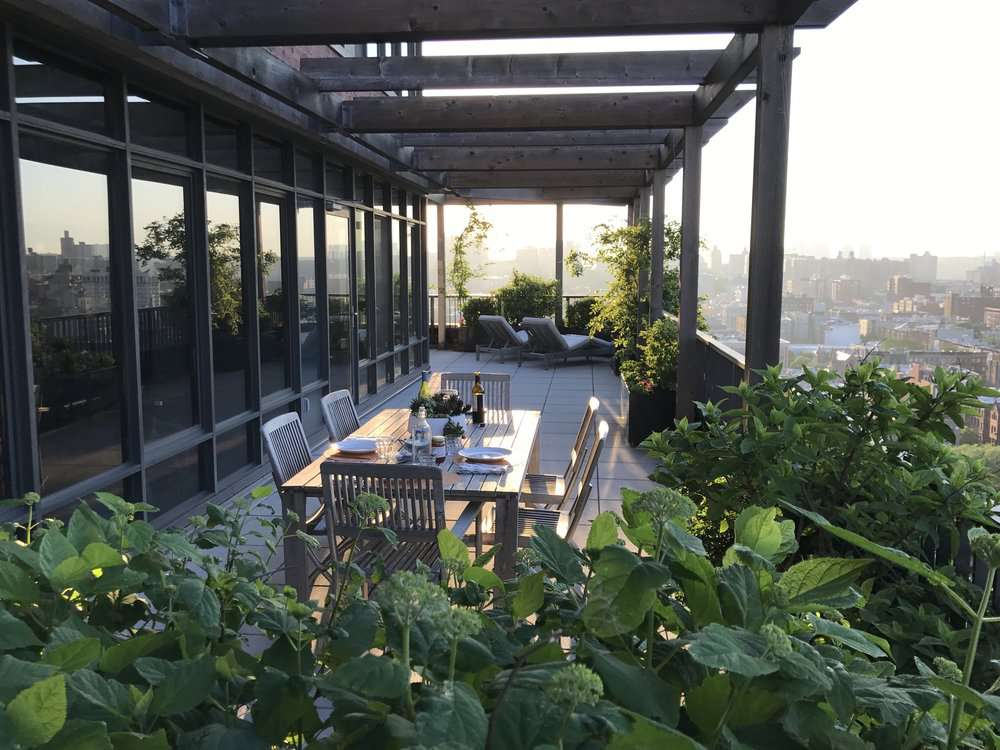 terrace on city apartment
