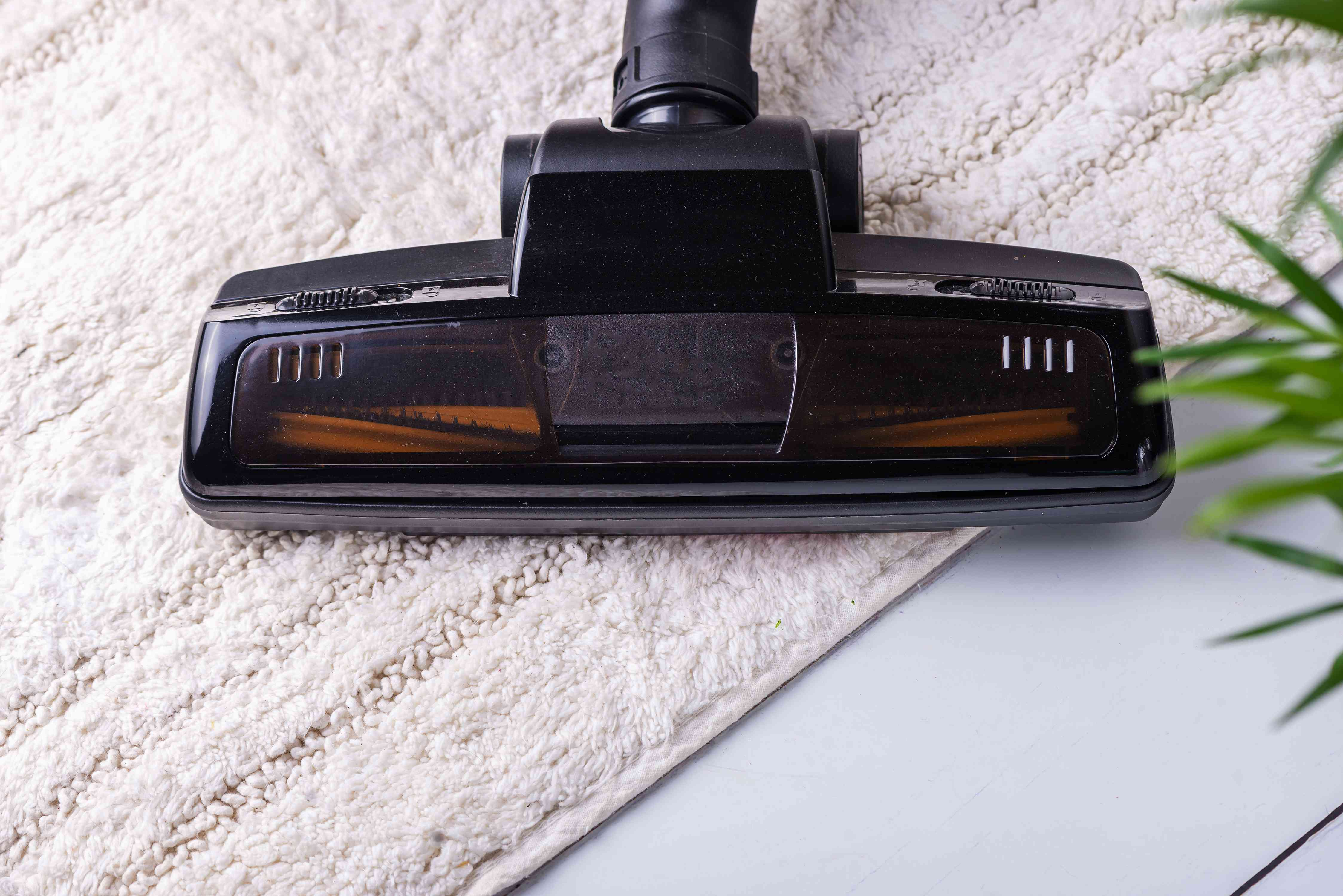 vacuuming the rug after letting it air dry