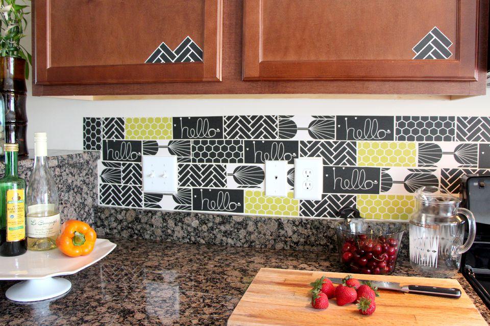 Wallpaper Collage Kitchen Backsplash
