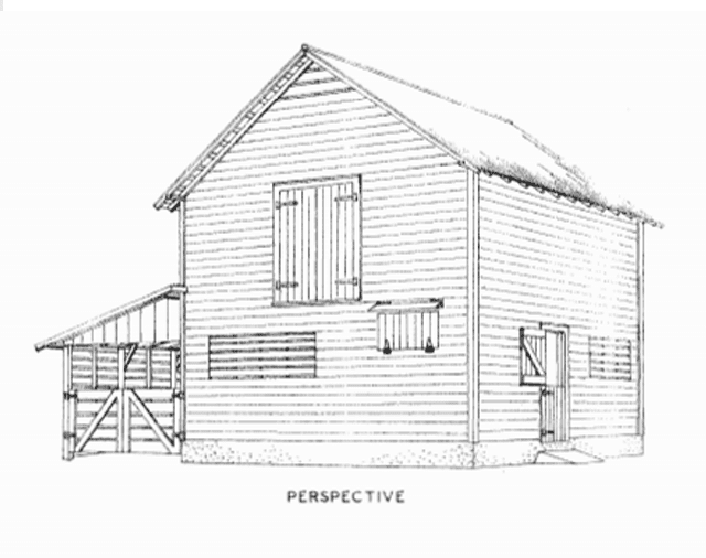Illustration of a barn with a lean-to