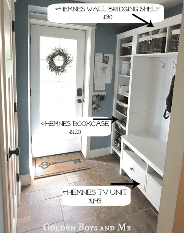 Mudroom storage with bookcase