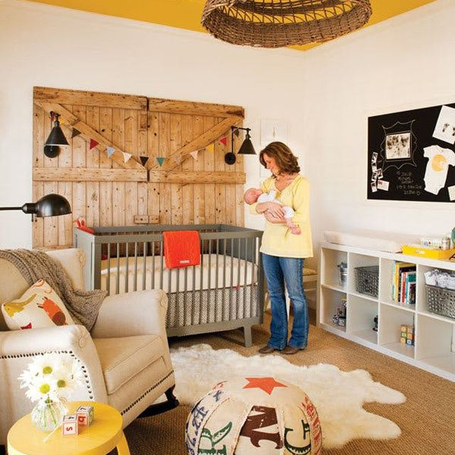 Southwestern-themed nursery with bold yellow ceiling