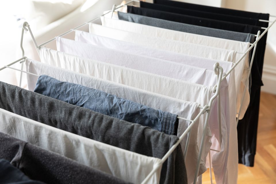 clothes on a drying rack