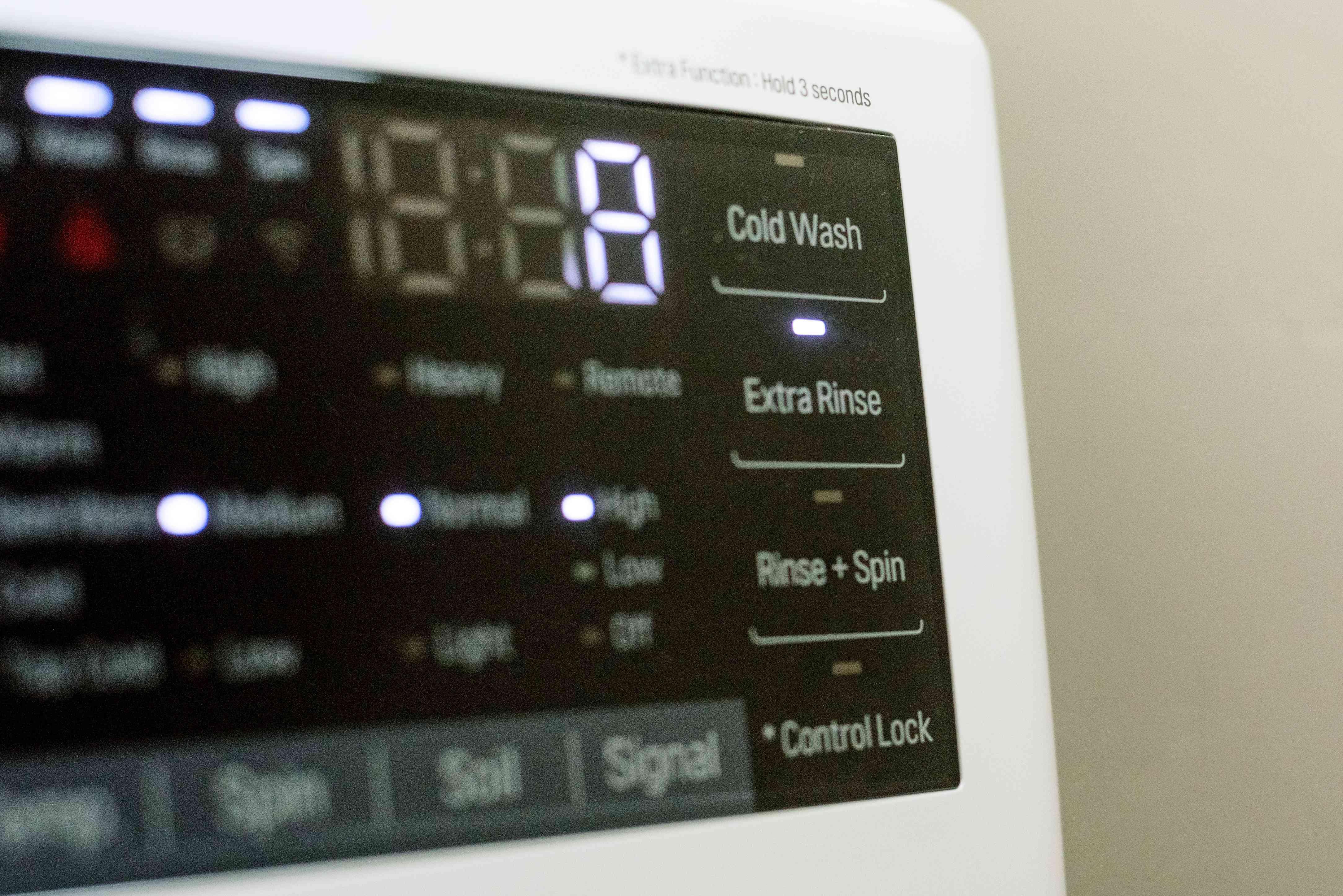 Control panel of a washing machine