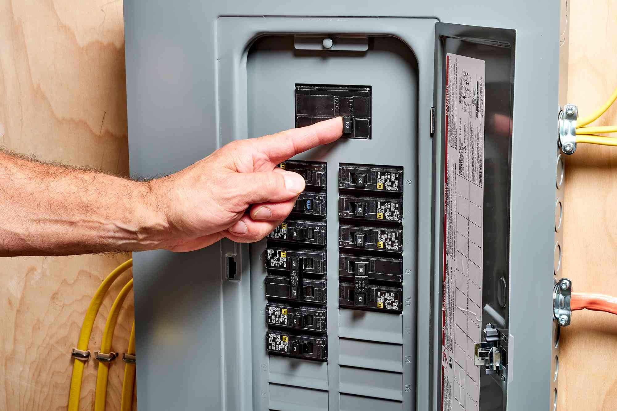 Main breaker switch turned on before powering on circuit breaker switches