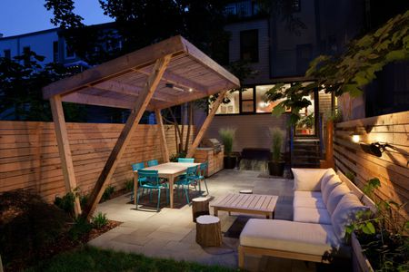 a custom made shelter provides shade for outdoor dining anthony crisafulli - Patio Shade Ideas