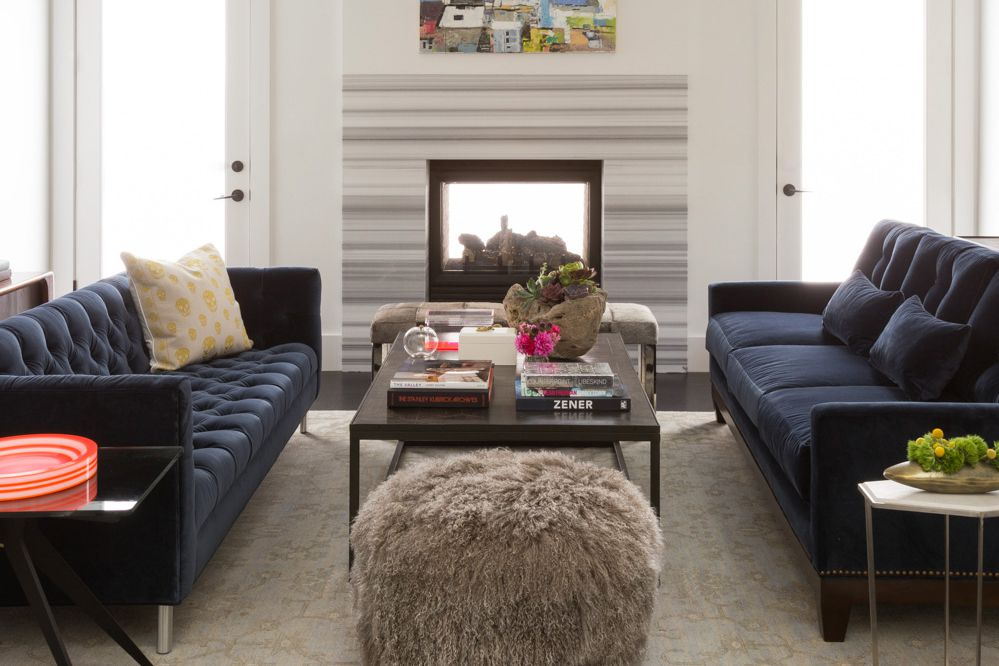 Striped marble fireplace