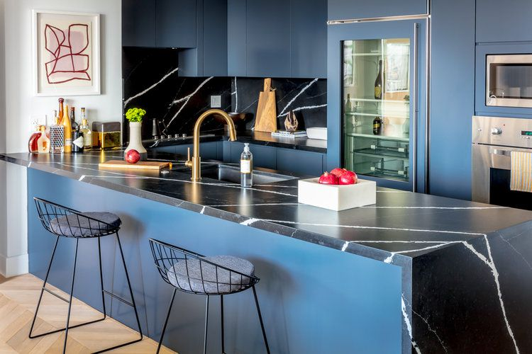 Black and blue contemporary kitchen