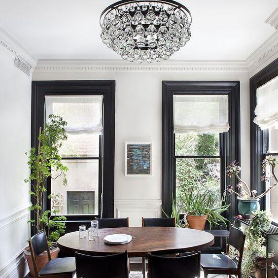 Black Window Trim in a Dining Room