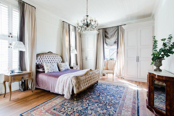 Hollywood Regency style primary bedroom decor