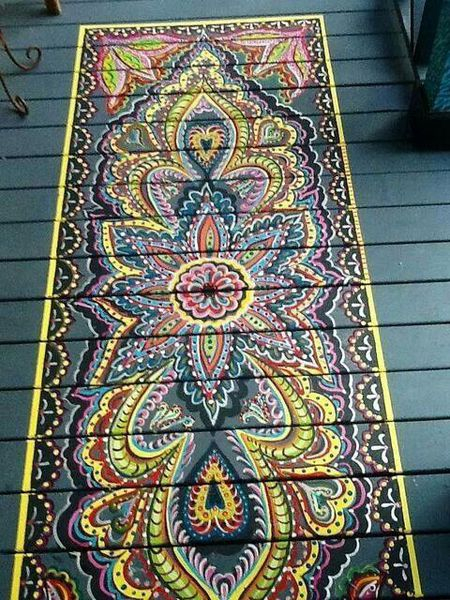Floor Painting In The Shape Of An Area Rug