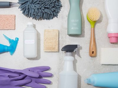 overhead still life of cleaning products and supplies