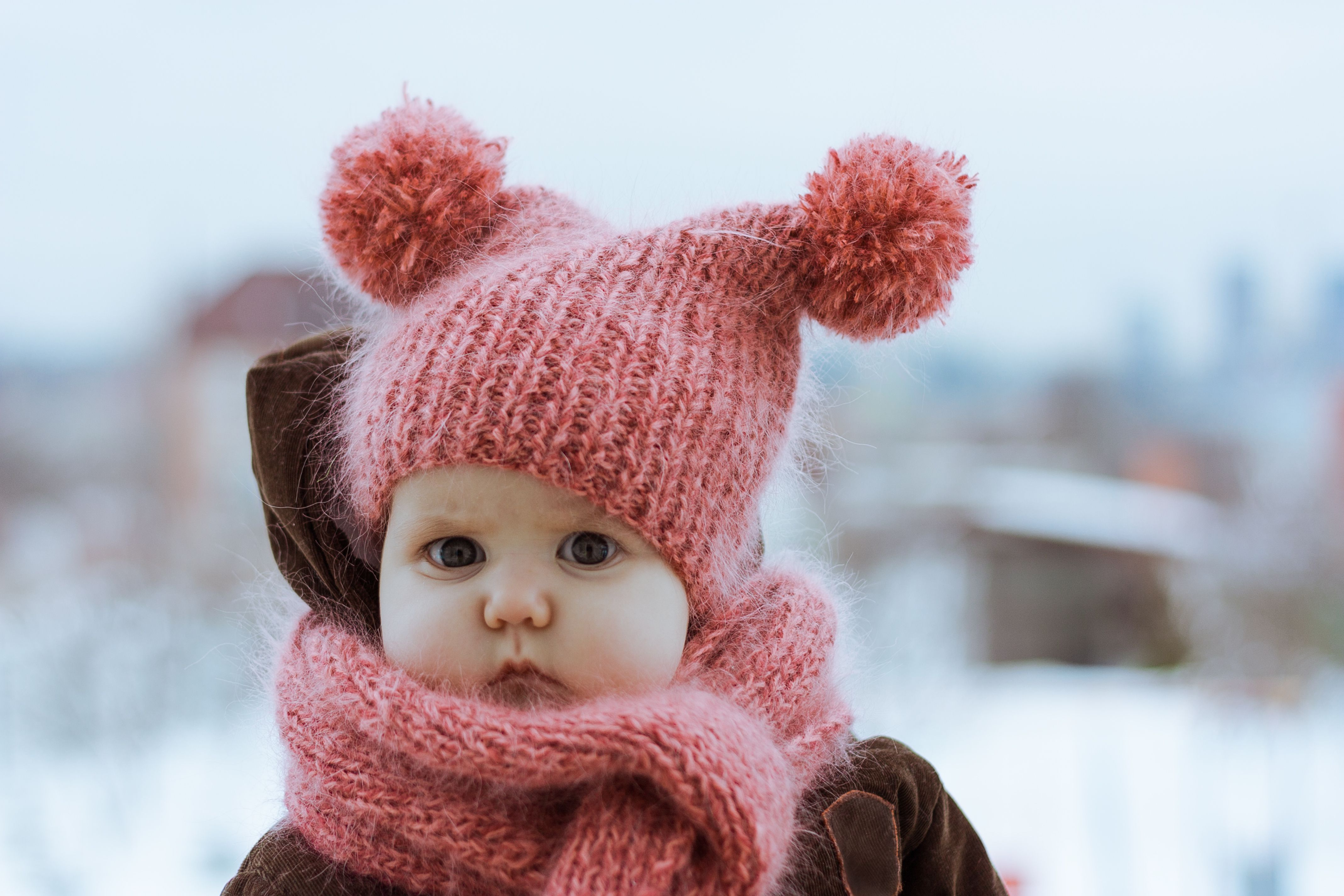 Baby in a knit cap