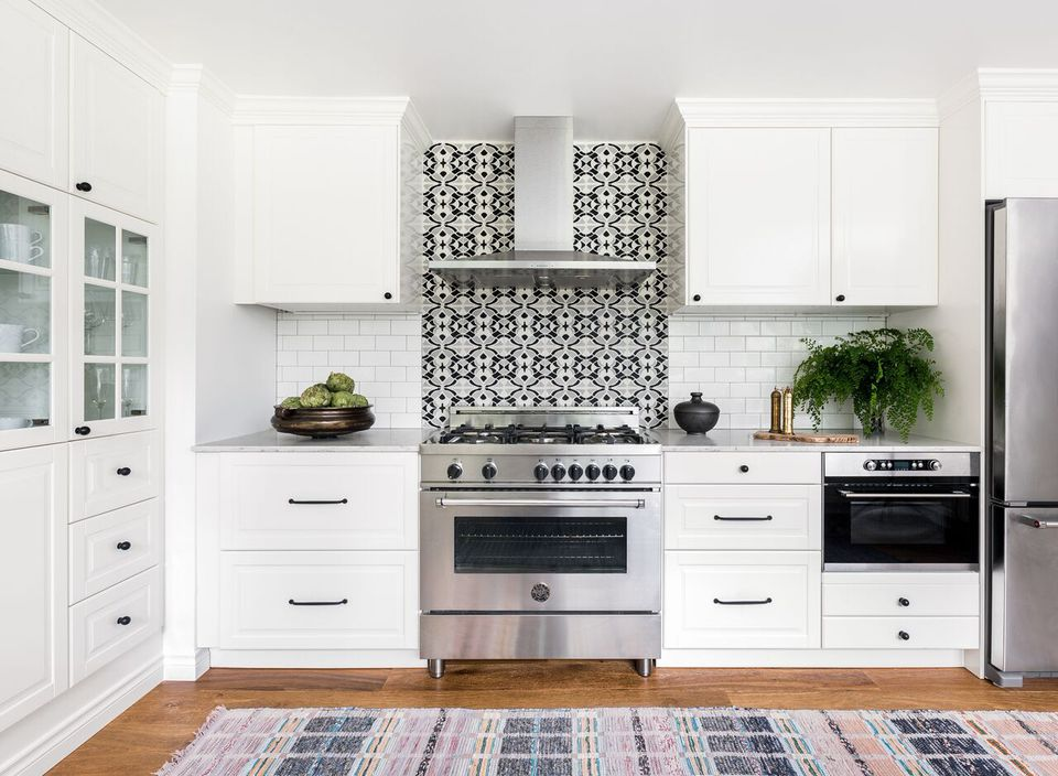 white cabinets with patterned backsplash