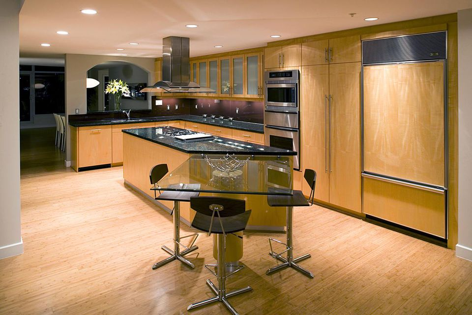 Luxury kitchen with bamboo floor