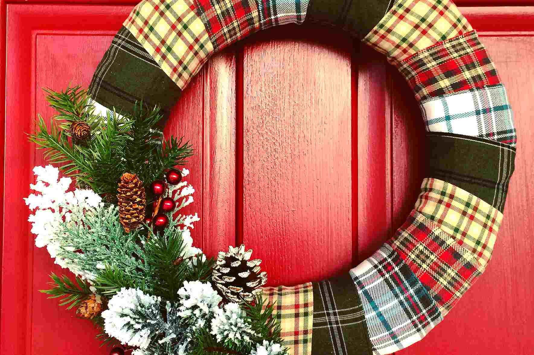 flannel winter door wreath
