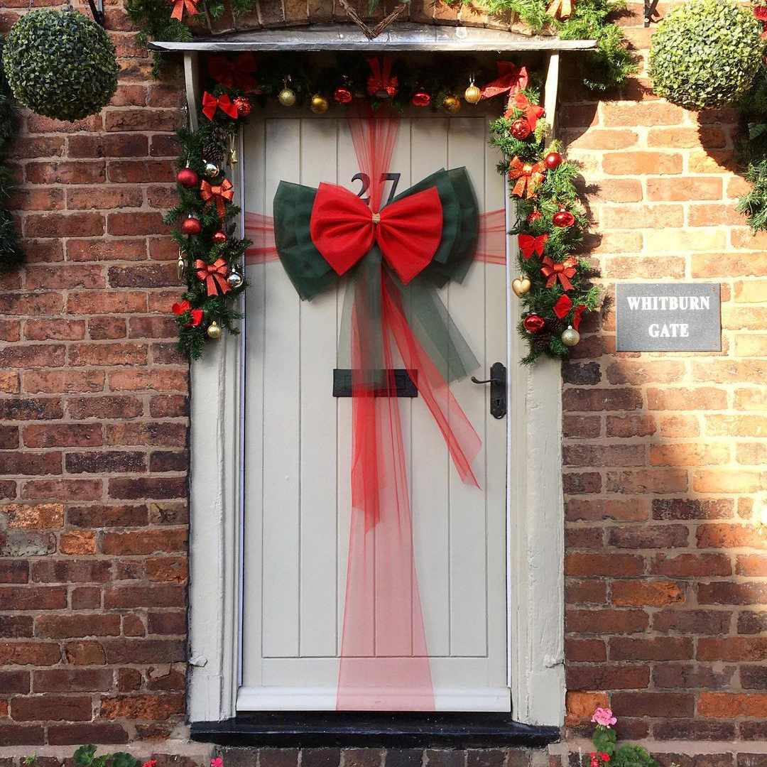 Door with a red bow