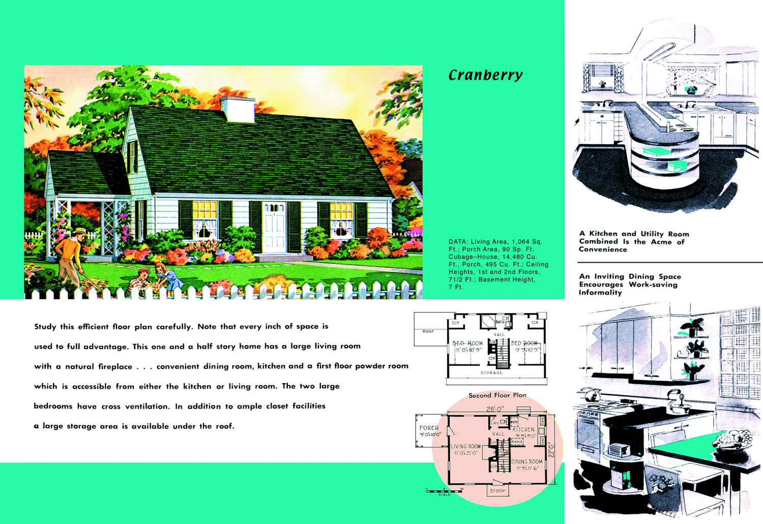 1950s floor plan and rendering of Cape Cod house called Cranberry