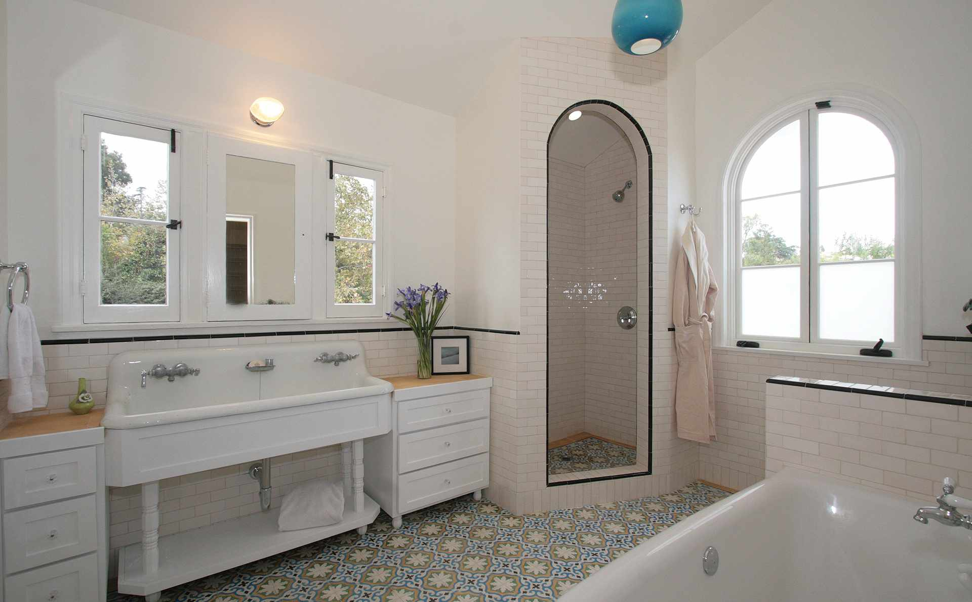 A Modern Living Room, Beautiful Bathrooms With Stylish Pedestal Sinks