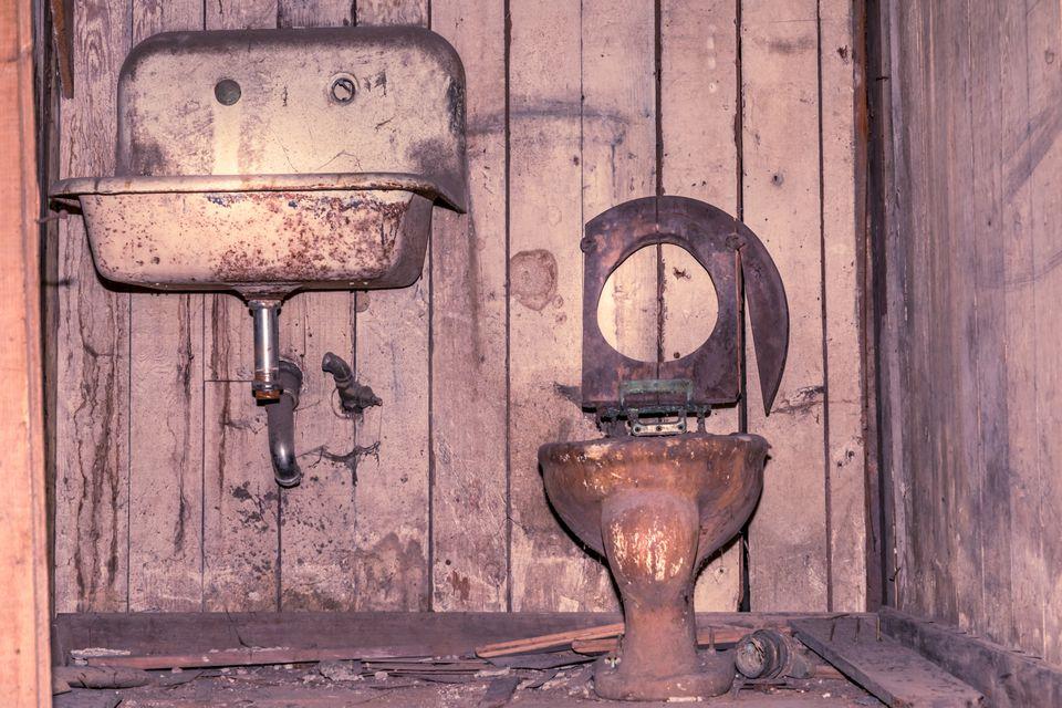 A destroyed bathroom