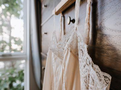 lingerie drying on a hanger