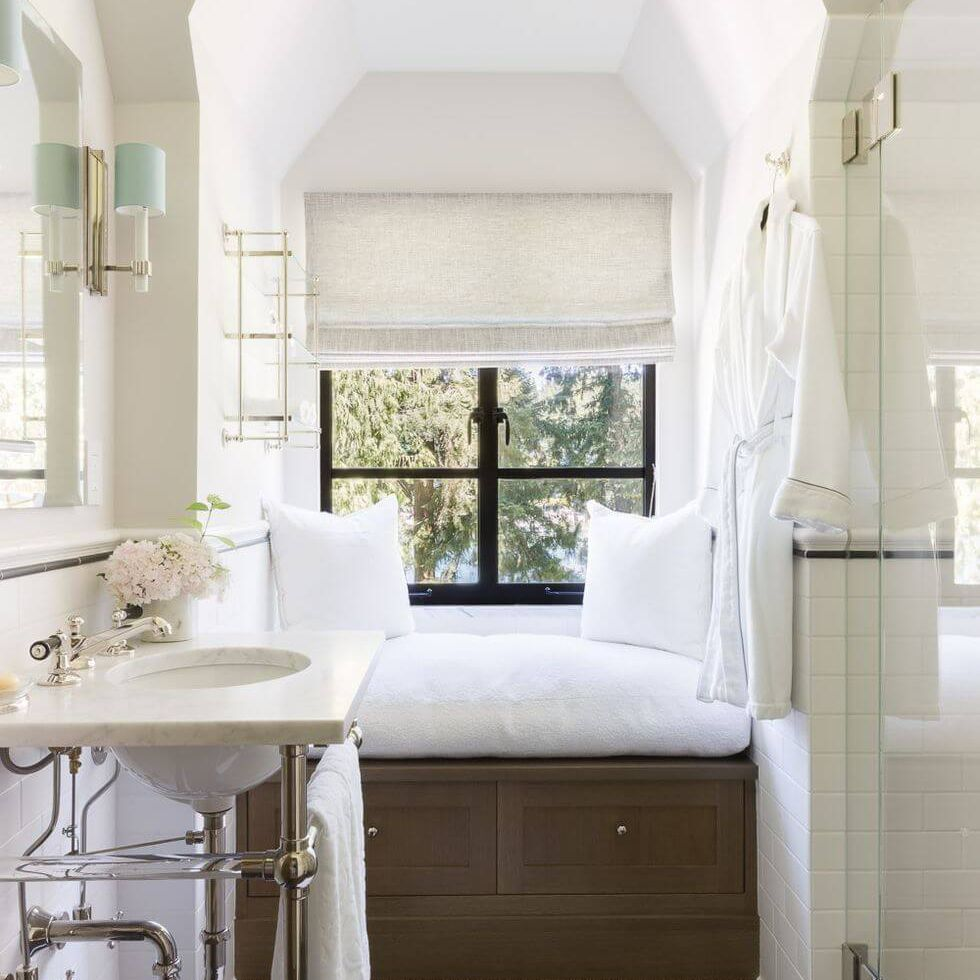 master bathroom with window bench