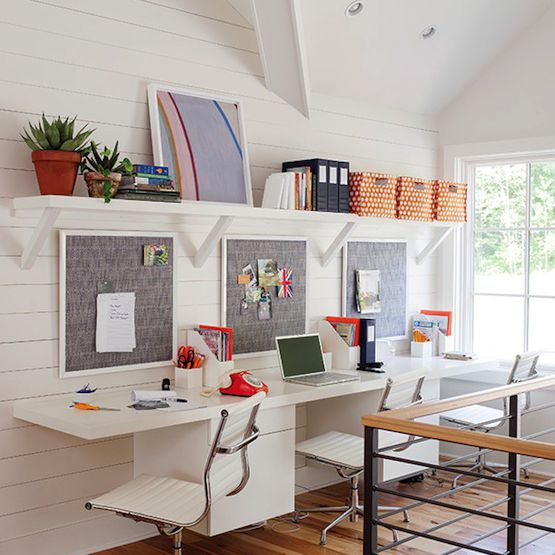 Kids homework station in loft space