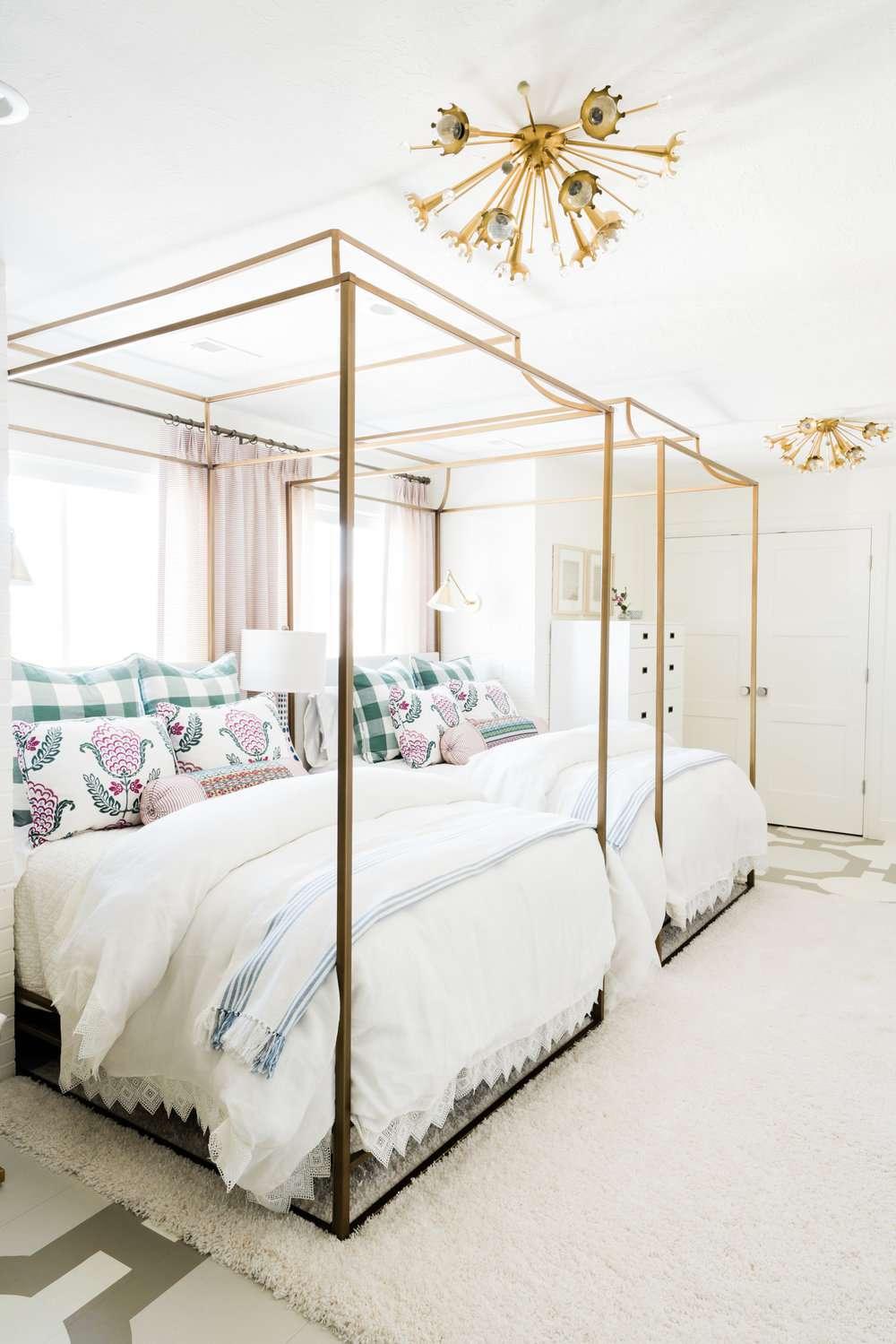 Gold canopies in children's bedroom