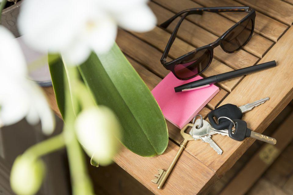 keys on an end table