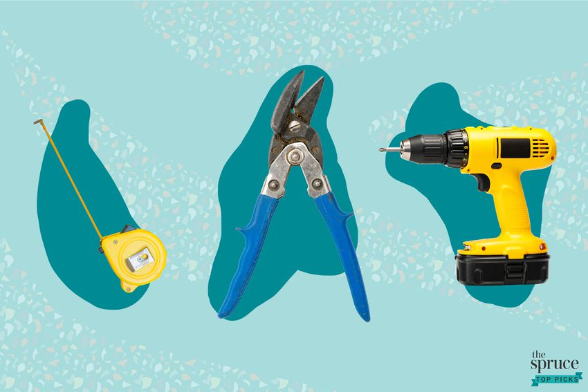 Photo composite of a measuring tape, pliers and a drill gun over a teal background.