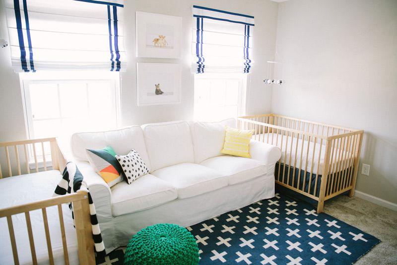 Clean, modern, simple twin nursery