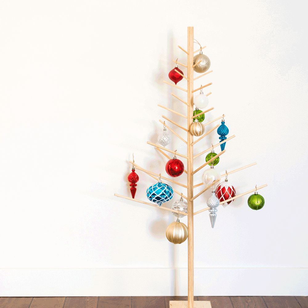 a tree made from wooden dowels