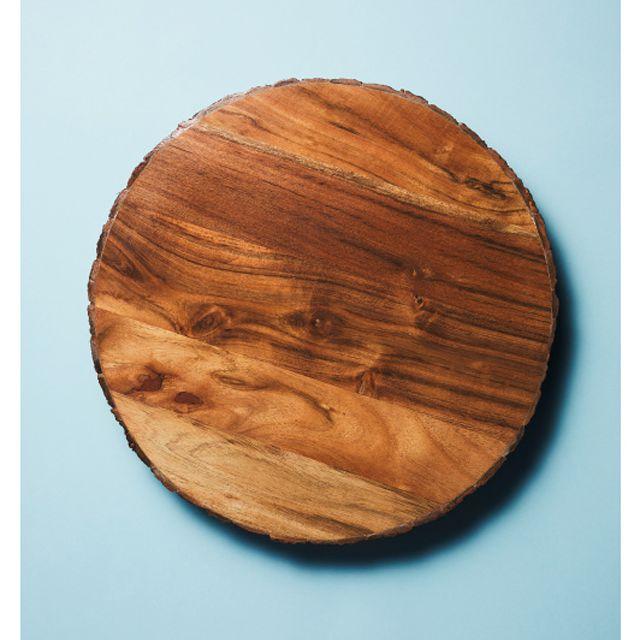 An overhead shot of a wood serving board