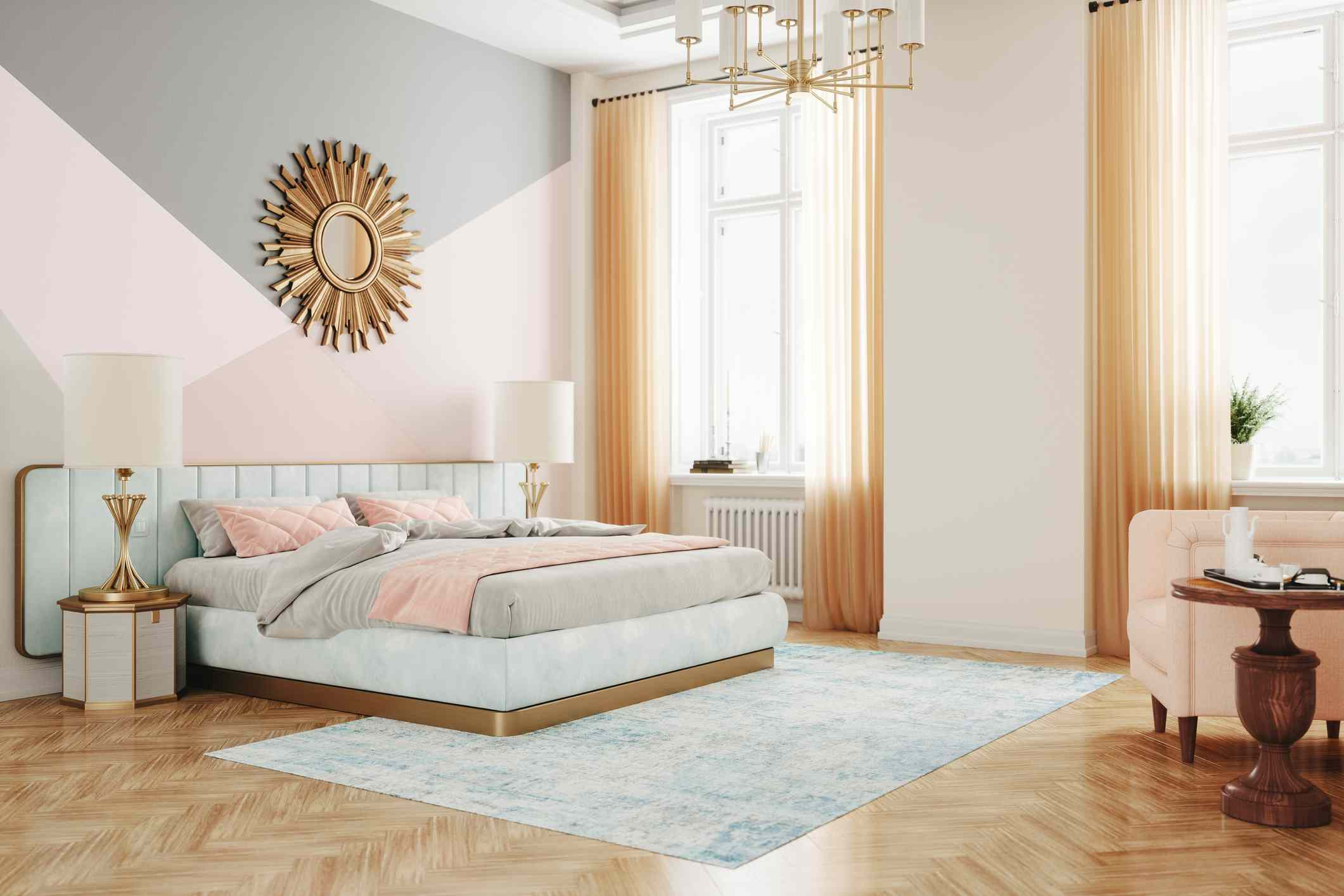 retro style bedroom in pastel colors