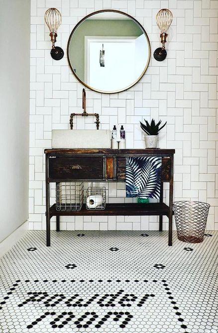 Cocina con lavabo de cemento y placa para salpicaduras de azulejos