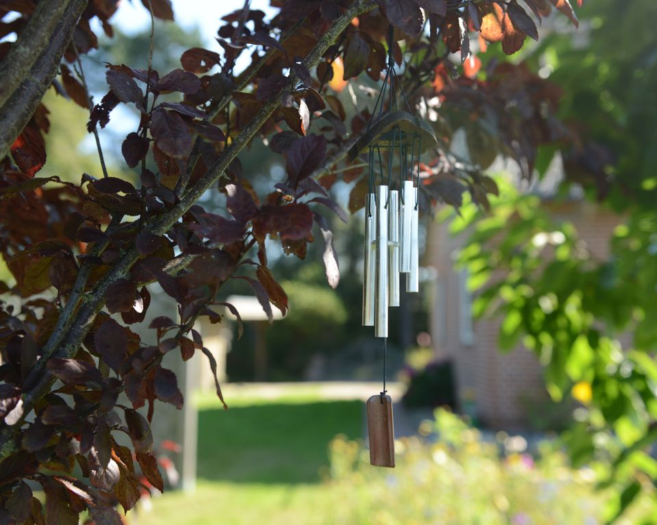 Wind chimes in a feng shui garden