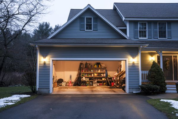 Upscale residential house has neat garage