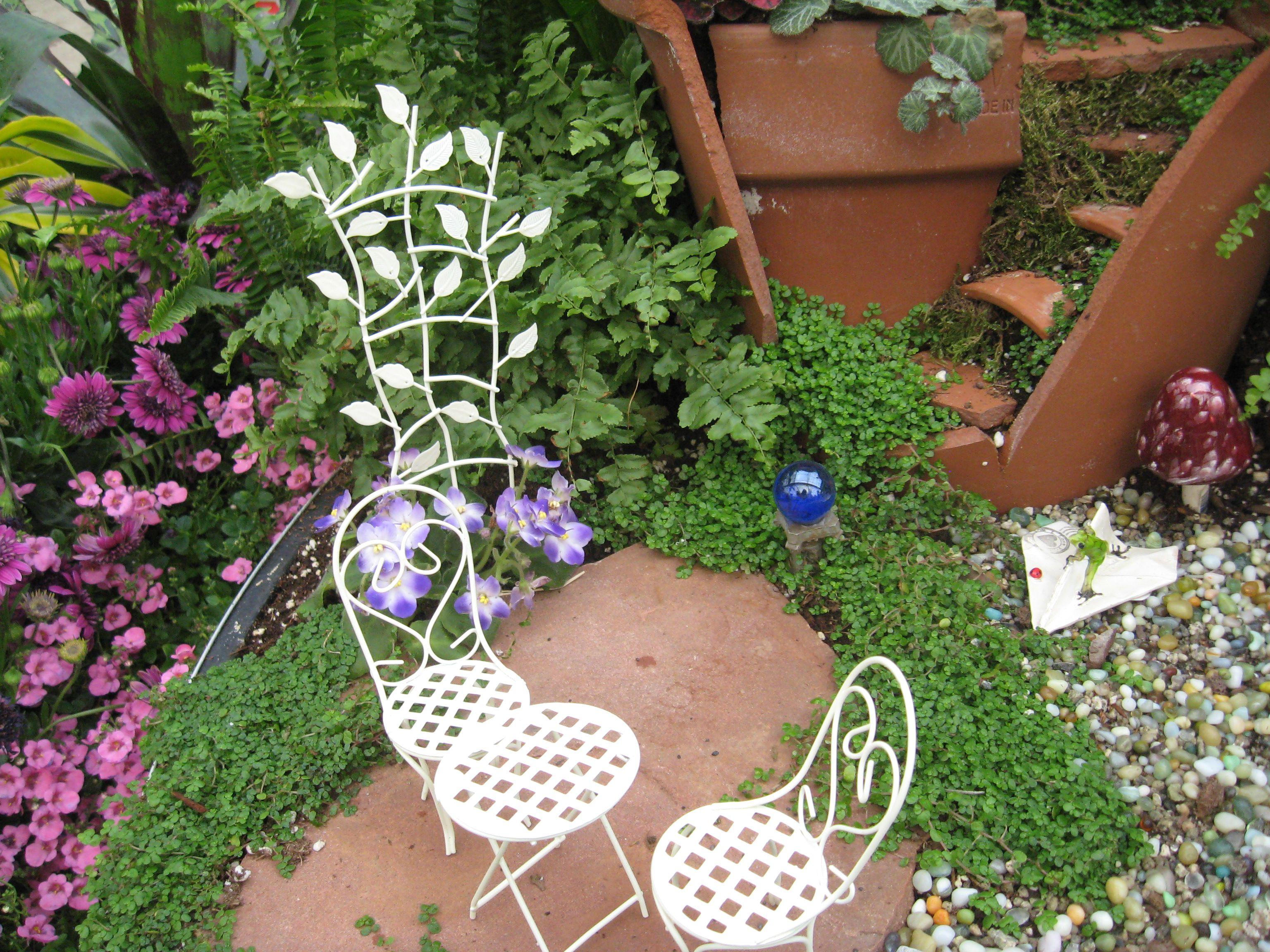 Miniature garden furniture in Fairy Garden