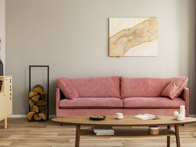 Wooden cabinet and log of wood next to pink couch in elegant living room interior