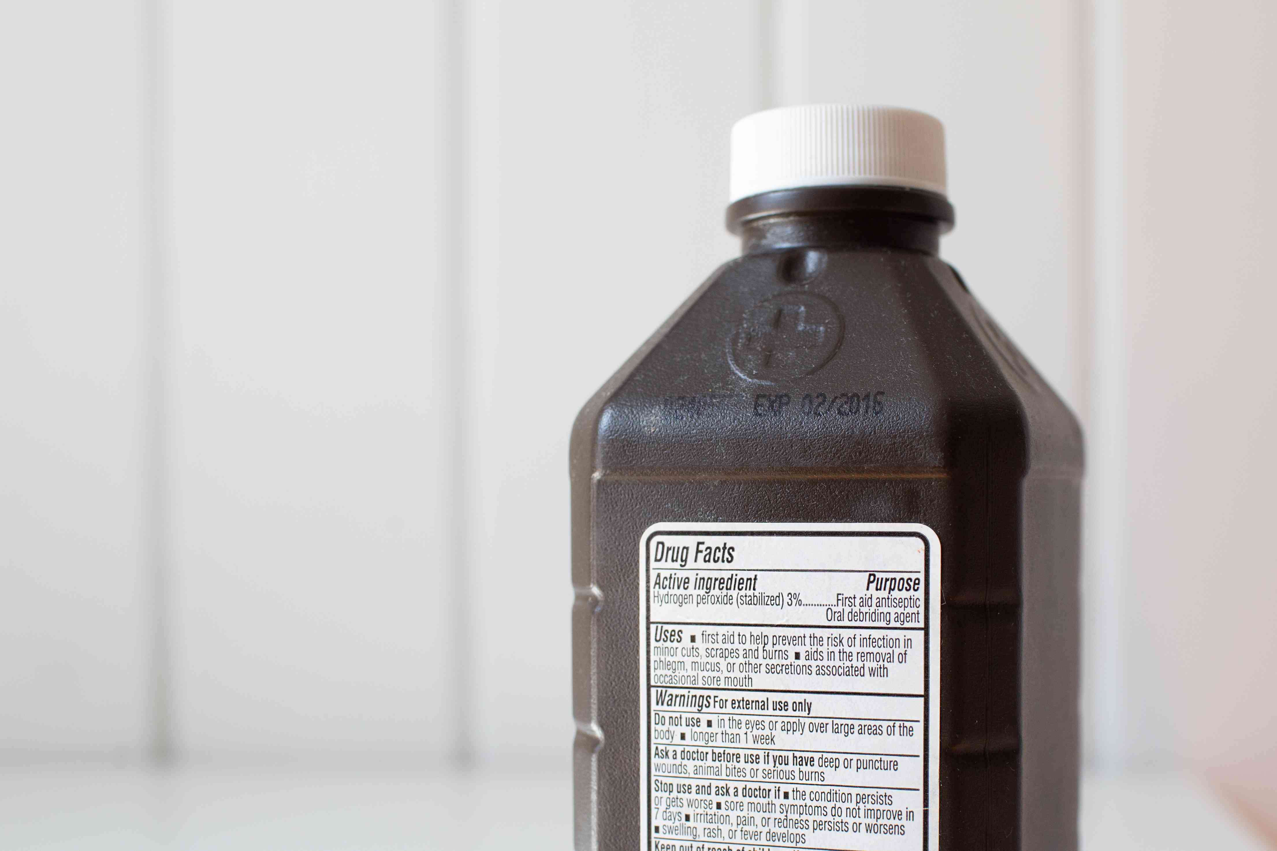 Bottle of expired hydrogen peroxide