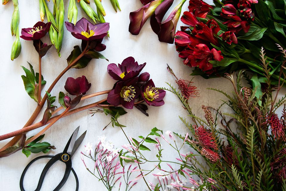 Assorted flowers and filler plants on white surface with scissors for flower arrangement