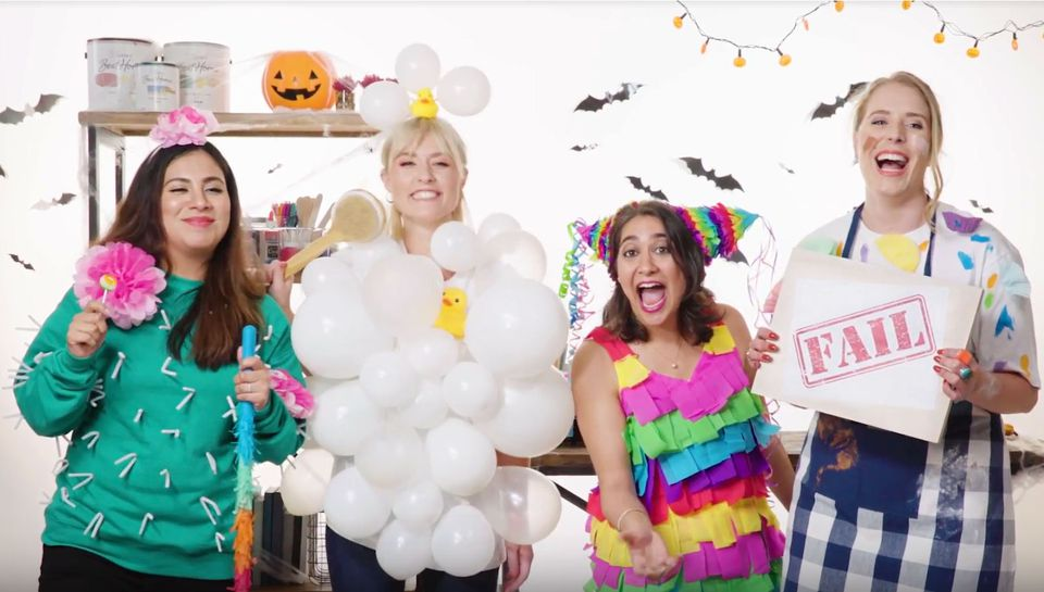 four DIY Halloween costumes against set backdrop